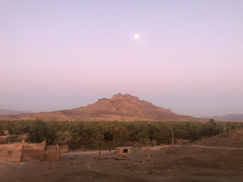 Moon over Jbel Kissane in Agdz, my banking town