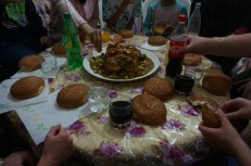 Djaj mhamr (chicken with olives, lemons, and sauce - served at weddings and important gatherings like this host family-hosted training group lunch)